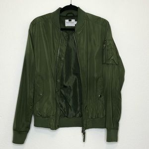 Topman Men's Green Bomber Jacket